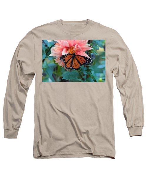Butterfly On Dahlia Long Sleeve T-Shirt