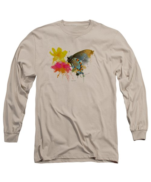 Butterfly On Lantana - Splatter Paint Tee Shirt Design Long Sleeve T-Shirt by Debbie Portwood