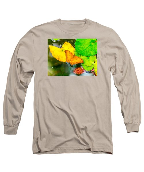 Butterfly On Lilies Long Sleeve T-Shirt by Jerry Cahill