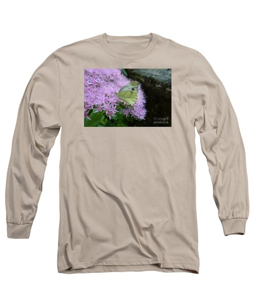 Butterfly On Mauve Flowers Long Sleeve T-Shirt