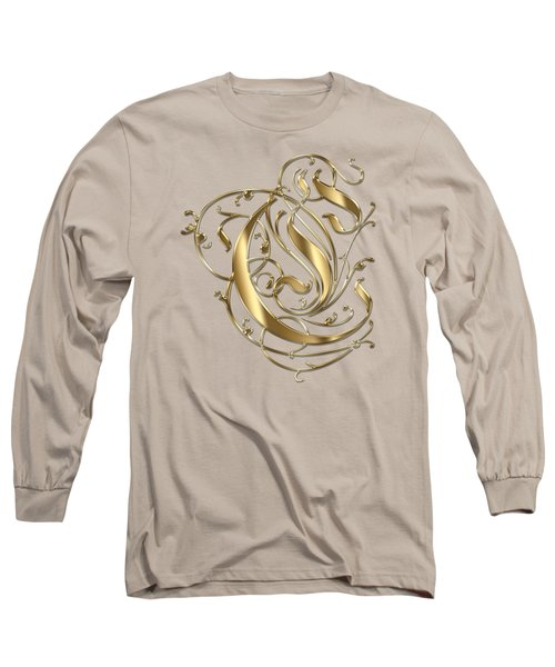 C Ornamental Letter Gold Typography Long Sleeve T-Shirt by Georgeta Blanaru