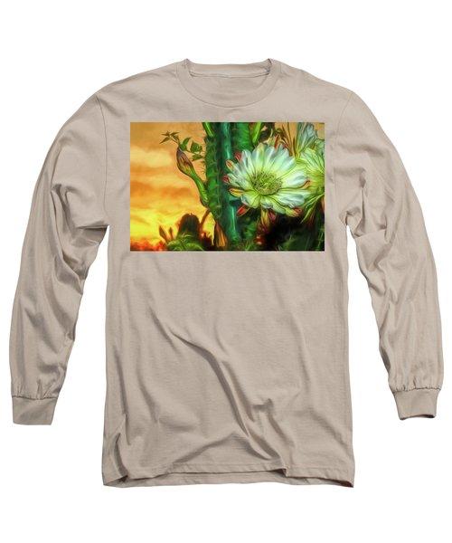 Cactus Flower At Sunrise Long Sleeve T-Shirt