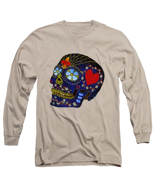 Calavera Del Azucar Long Sleeve T-Shirt by Iowan Stone-Flowers