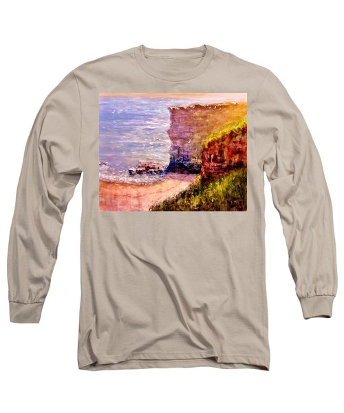 Long Sleeve T-Shirt featuring the painting California Cliffs.. by Cristina Mihailescu