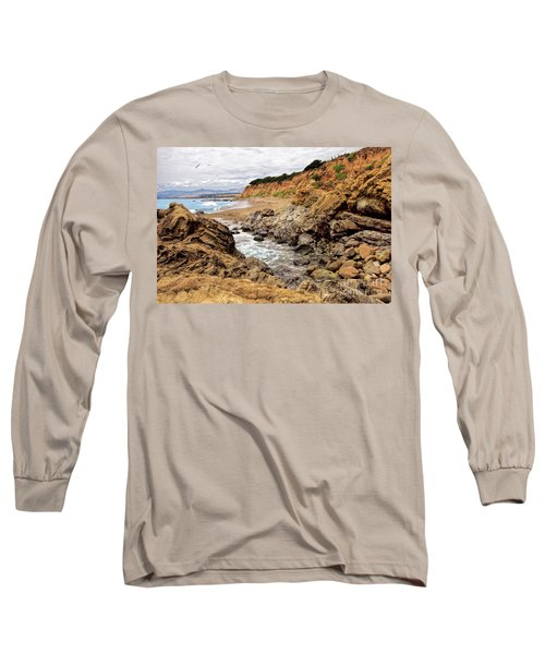 California Coast Rocks Cliffs And Beach Long Sleeve T-Shirt by Dan Carmichael