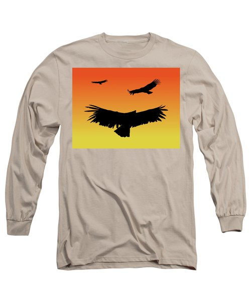 California Condors In Flight Silhouette At Sunset Long Sleeve T-Shirt