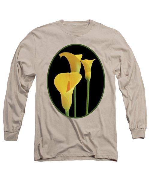 Calla Lilies - Yellow On Black Long Sleeve T-Shirt by Gill Billington
