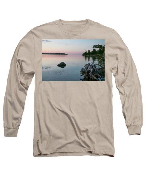 Calm Water At Lake Huron Crystal Point Long Sleeve T-Shirt by Kelly Hazel