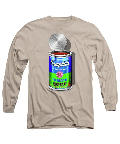 Campbell's Soup Revisited - Blue And Green Long Sleeve T-Shirt by Serge Averbukh