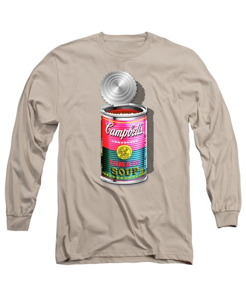 Campbell's Soup Revisited - Pink And Green Long Sleeve T-Shirt by Serge Averbukh