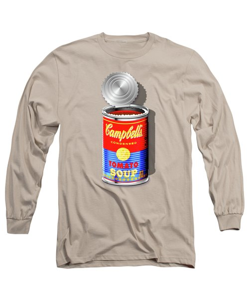 Campbell's Soup Revisited - Red And Blue   Long Sleeve T-Shirt by Serge Averbukh