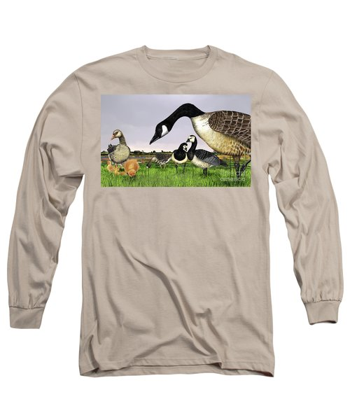 Canada Goose - Greylag Goose With Fledglings Chicks - White Fronted Goose -  Barnacle Goose Long Sleeve T-Shirt