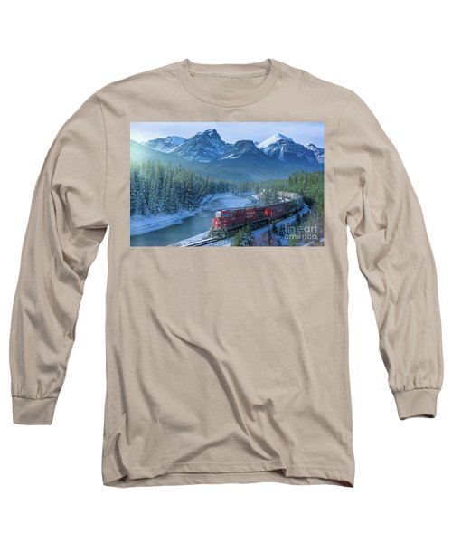 Canadian Pacific Railway Through The Rocky Mountains Long Sleeve T-Shirt by Rod Jellison