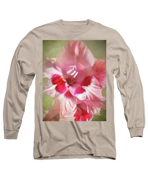 Candy Cane Gladiola Long Sleeve T-Shirt by Kathi Mirto