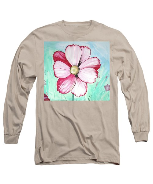 Candy Stripe Cosmos Long Sleeve T-Shirt by Mary Ellen Frazee