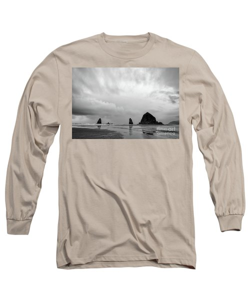 Cannon Beach In Black And White Long Sleeve T-Shirt