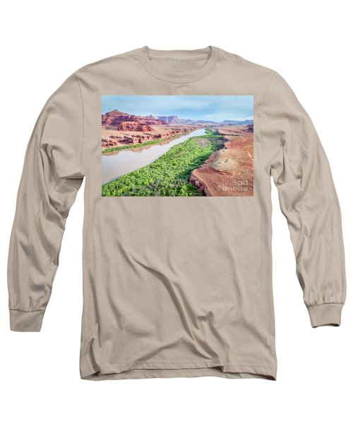 Canyon Of Colorado River In Utah Aerial View Long Sleeve T-Shirt