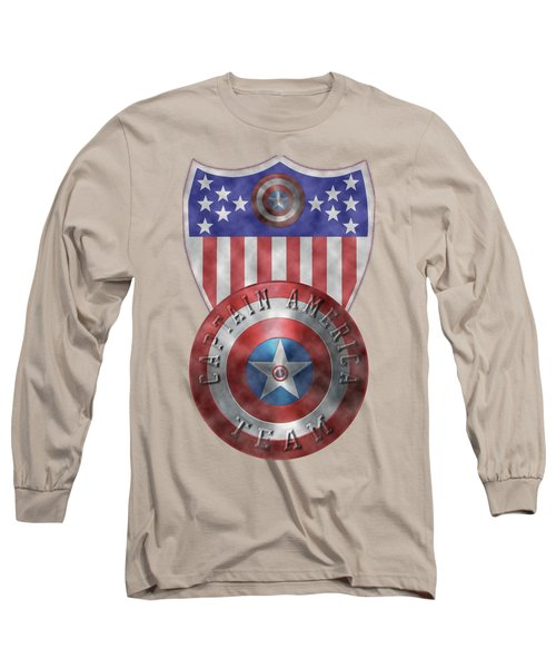 Captain America Shields On Gold  Long Sleeve T-Shirt by Georgeta Blanaru