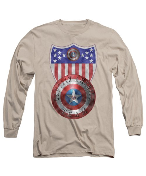 Captain America Shields On Gold  Long Sleeve T-Shirt
