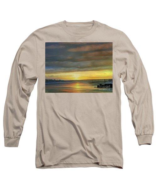 Captivating Sunset Over The Harbor Long Sleeve T-Shirt by Judy Palkimas