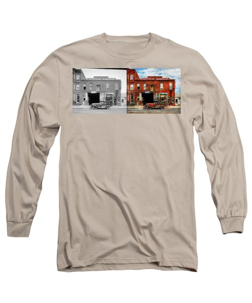Long Sleeve T-Shirt featuring the photograph Car - Garage - Misfit Garage 1922 - Side By Side by Mike Savad