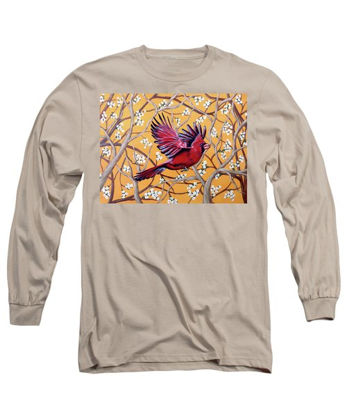 Cardinal In Flight Long Sleeve T-Shirt by Teresa Wing