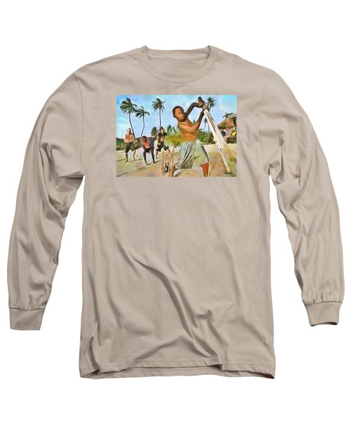 Long Sleeve T-Shirt featuring the painting Caribbean Scenes - Cricket On De Beach by Wayne Pascall