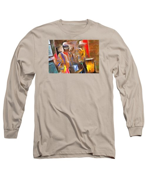 Caribbean Scenes - Pan And Drums Long Sleeve T-Shirt