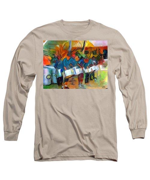 Caribbean Scenes - Steel Band Practice Long Sleeve T-Shirt