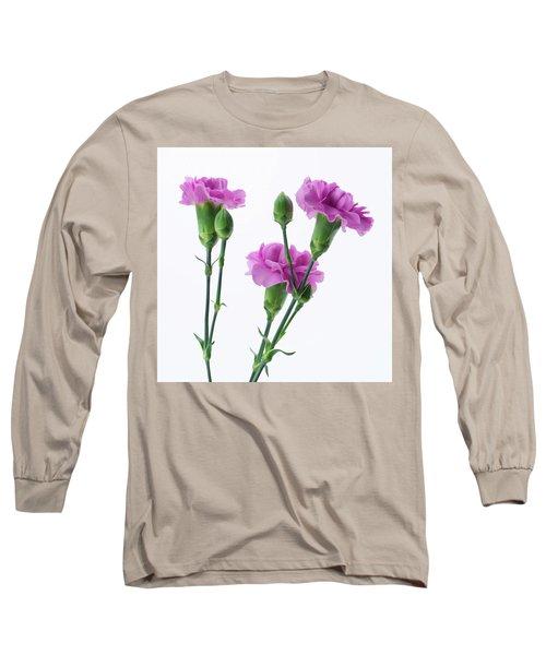 Carnations Three Lavender Long Sleeve T-Shirt