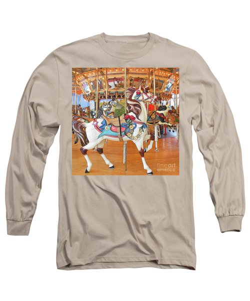 Carousel Horse On Wood Floor Long Sleeve T-Shirt