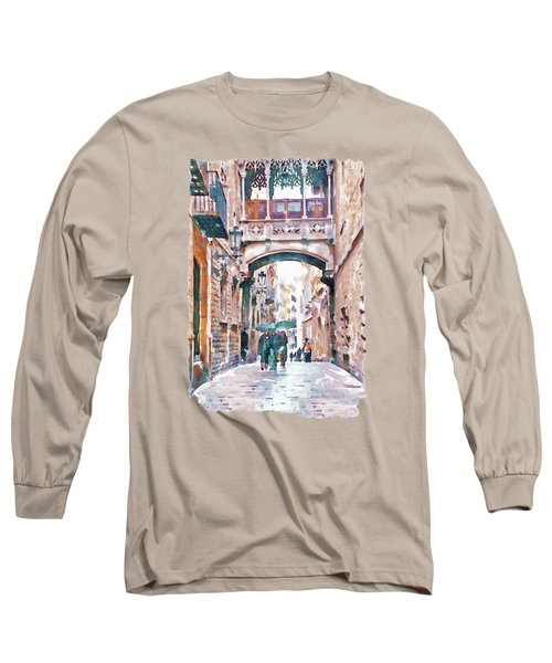 Carrer Del Bisbe - Barcelona Long Sleeve T-Shirt by Marian Voicu