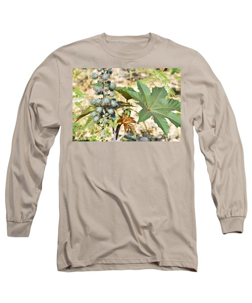 Long Sleeve T-Shirt featuring the photograph Castor Oil Plant by Ray Shrewsberry