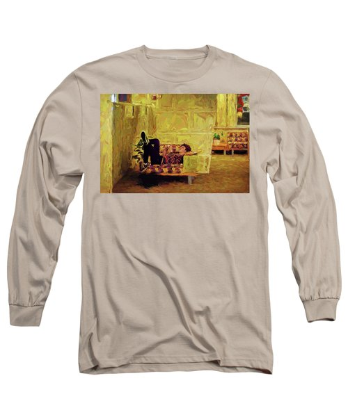 Long Sleeve T-Shirt featuring the photograph Casual Student by Lewis Mann