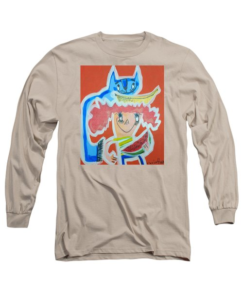 Cat And Girl Long Sleeve T-Shirt by Artists With Autism Inc