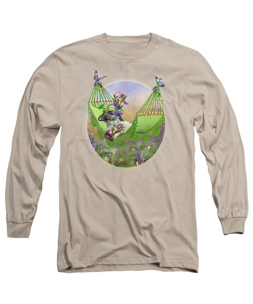 Cat In Calla Lily Hat Long Sleeve T-Shirt by Carol Cavalaris