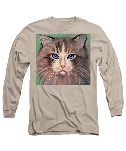 Long Sleeve T-Shirt featuring the digital art Cat With Blue Eyes by Maja Sokolowska