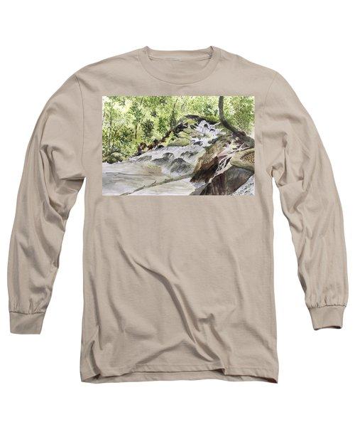 Catawba Falls - A Watercolor Sketch Long Sleeve T-Shirt