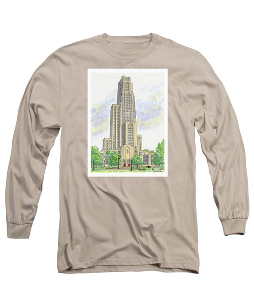 Long Sleeve T-Shirt featuring the painting Cathedral Of Learning by Val Miller