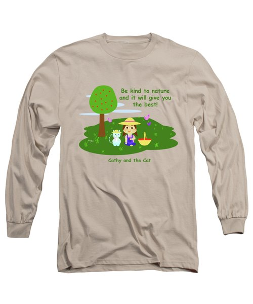 Cathy And The Cat Are Kind To Nature Long Sleeve T-Shirt