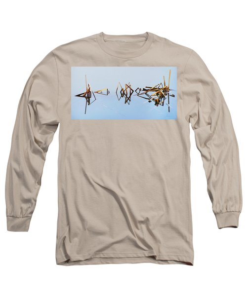 Cattail Reflections Long Sleeve T-Shirt by Francesa Miller
