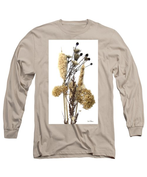 Long Sleeve T-Shirt featuring the digital art Cattails And November Flowers II by Lise Winne