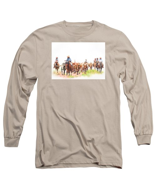 Cattle Drive Long Sleeve T-Shirt by David and Carol Kelly