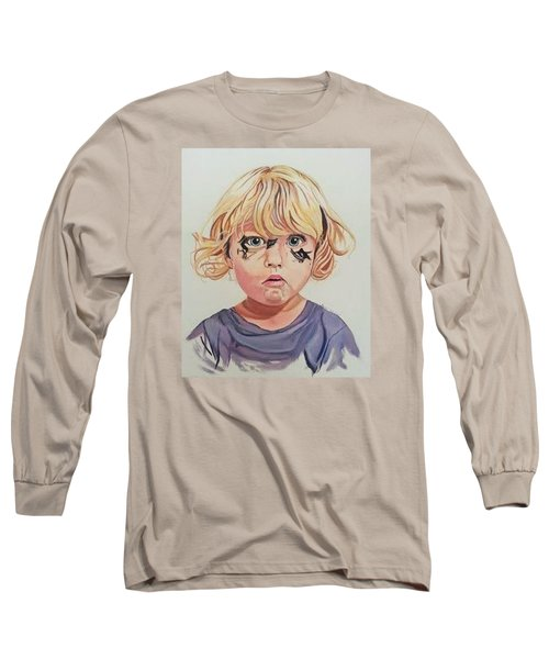 Long Sleeve T-Shirt featuring the painting Caught With A Makeup-mess-mila by Kevin F Heuman