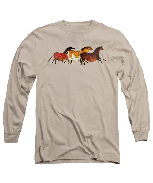 Cave Horses In Beige Long Sleeve T-Shirt