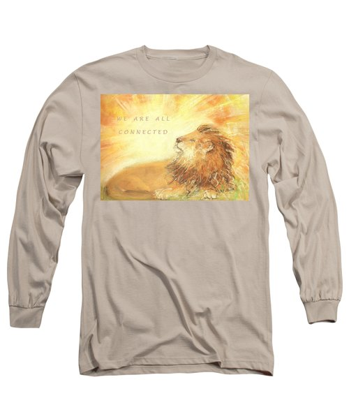 Long Sleeve T-Shirt featuring the drawing Cecil The Lion by Denise Fulmer