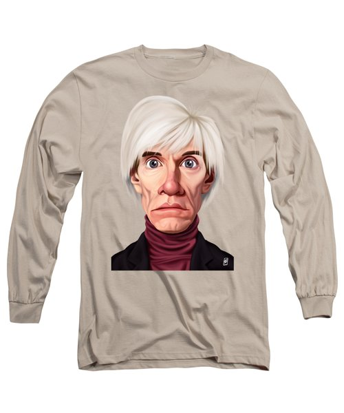 Long Sleeve T-Shirt featuring the drawing Celebrity Sunday - Andy Warhol by Rob Snow