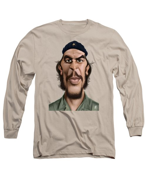 Long Sleeve T-Shirt featuring the drawing Celebrity Sunday - Che Guevara by Rob Snow