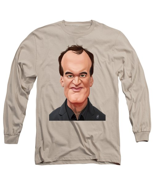 Long Sleeve T-Shirt featuring the drawing Celebrity Sunday - Quentin Tarantino by Rob Snow