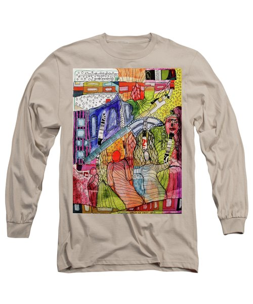 Long Sleeve T-Shirt featuring the mixed media Celestial Windows by Mimulux patricia no No